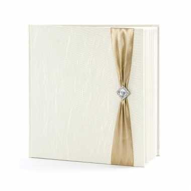 Bruiloft gastenboek creme met goud