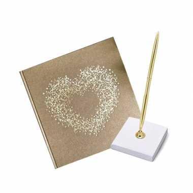 Bruiloft gastenboek gouden hart met luxe pen incl. houder