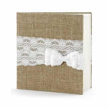Bruiloft gastenboek van jute met strik
