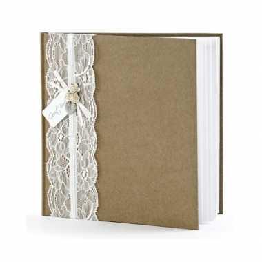 Bruiloft gastenboek vintage 20,5 cm