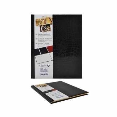 Bruiloft gastenboek zwart 25 x 20 cm