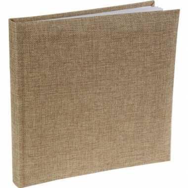 Gasten album gastenboek jute 24 x 24 cm