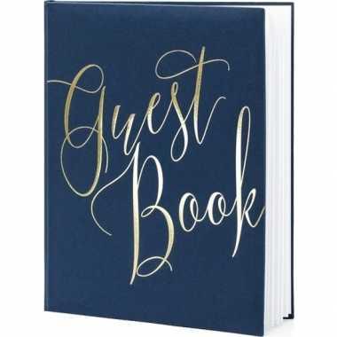 Gastenboek navy blauw/goud 20 x 25 cm