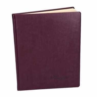 Luxe aubergine gastenboek 27 cm